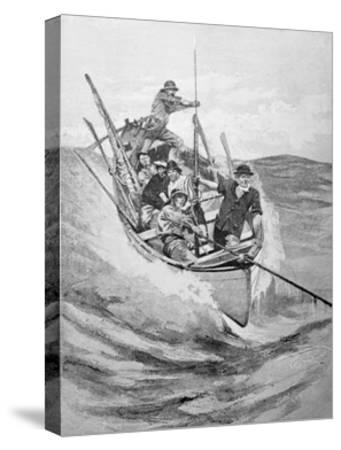Drawing of Whalers in Boat--Stretched Canvas Print