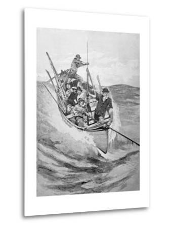 Drawing of Whalers in Boat--Metal Print