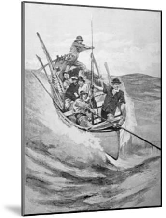 Drawing of Whalers in Boat--Mounted Giclee Print