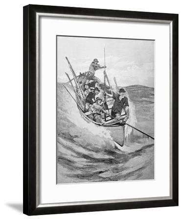Drawing of Whalers in Boat--Framed Giclee Print