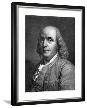 Engraved Portrait of Benjamin Franklin--Framed Giclee Print