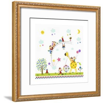Happy Children in Amusement Park-TongRo-Framed Giclee Print