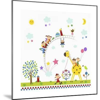 Happy Children in Amusement Park-TongRo-Mounted Giclee Print