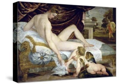 Venus and Love by Lambert Sustris--Stretched Canvas Print