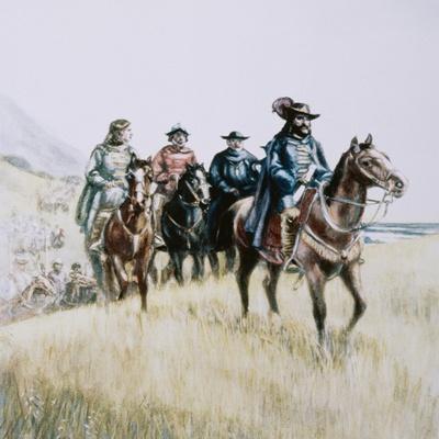 Illustration of Juan Bautista De Anza on Horseback--Framed Giclee Print