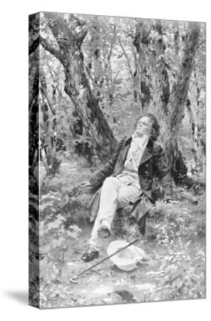 Beethoven Lounging in the Forest--Stretched Canvas Print
