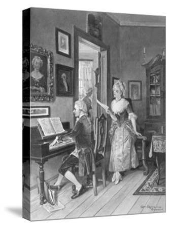 Mozart Playing Piano for Young Songstress--Stretched Canvas Print