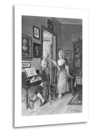 Mozart Playing Piano for Young Songstress--Metal Print