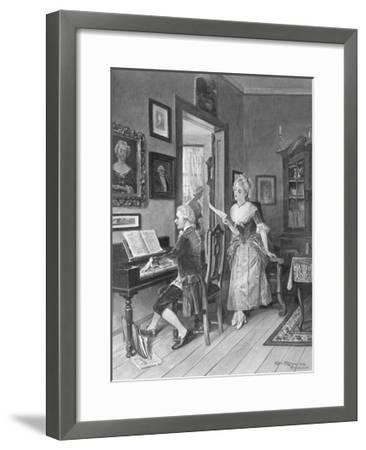 Mozart Playing Piano for Young Songstress--Framed Giclee Print