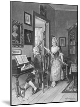 Mozart Playing Piano for Young Songstress--Mounted Giclee Print