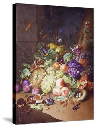 Plaque with Still Life--Stretched Canvas Print