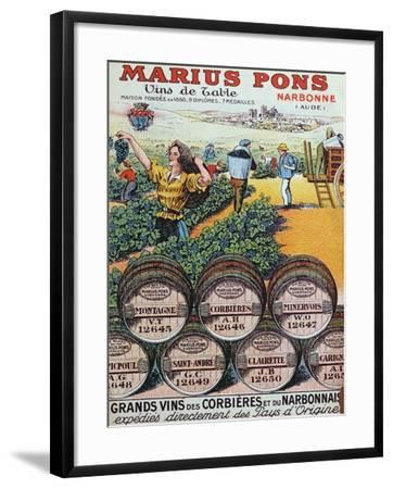 Advertisement for 'Marius Pons' Wine Merchants in Narbonne, France, Early 20th Century--Framed Giclee Print