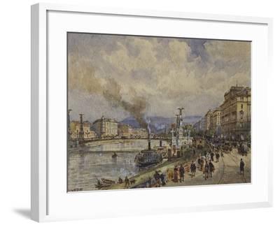 Austria, Vienna, Walk Along Danube River in Vienna--Framed Giclee Print