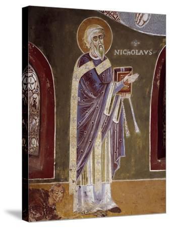 Figure of Saint, Detail from Life of St. Nicholas of Bari, 11th Century Fresco, St. Eldrado Chapel--Stretched Canvas Print