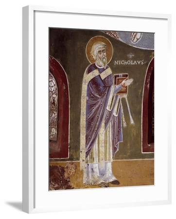 Figure of Saint, Detail from Life of St. Nicholas of Bari, 11th Century Fresco, St. Eldrado Chapel--Framed Giclee Print