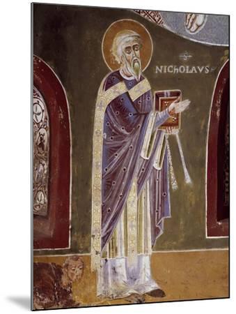 Figure of Saint, Detail from Life of St. Nicholas of Bari, 11th Century Fresco, St. Eldrado Chapel--Mounted Giclee Print