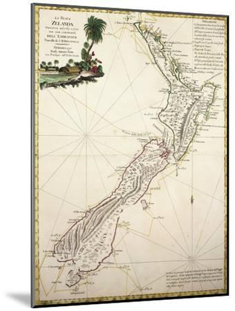 Map of New Zealand by Antonio Zatta According to Discoveries of James Cook, Venice 1778--Mounted Giclee Print