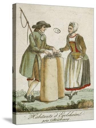 Alsatian Costumes: Dwellers of Egelshaim, Near Strasbourg--Stretched Canvas Print