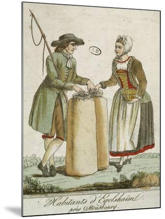 Alsatian Costumes: Dwellers of Egelshaim, Near Strasbourg--Mounted Giclee Print
