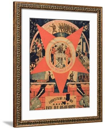 Soviet Russia, Give All to Defend', Soviet Poster--Framed Giclee Print