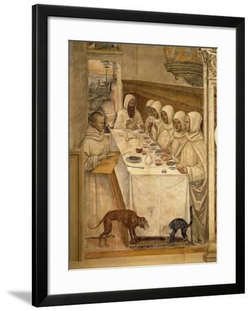 St. Benedict Finds Flour and Feeds the Monks, from the Life of St. Benedict, 1497-98--Framed Giclee Print
