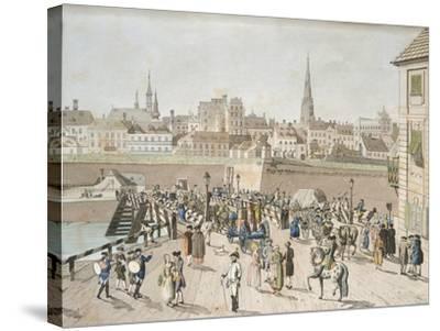 Leopoldstadt Bridge in Vienna Engraving, Austria 18th Century--Stretched Canvas Print
