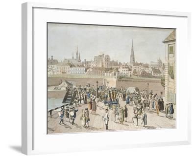 Leopoldstadt Bridge in Vienna Engraving, Austria 18th Century--Framed Giclee Print
