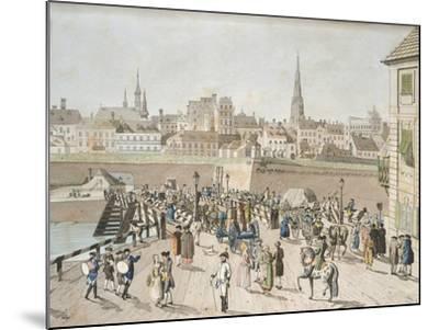 Leopoldstadt Bridge in Vienna Engraving, Austria 18th Century--Mounted Giclee Print