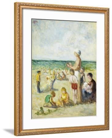 On the Beach in Normandy; Sur La Plage En Normandie, C.1930--Framed Giclee Print