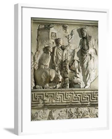 Relief of Aeneas Sacrificing to Penates, on Ara Pacis Augustae, Altar Built Between 13 and 9 B.C.--Framed Giclee Print