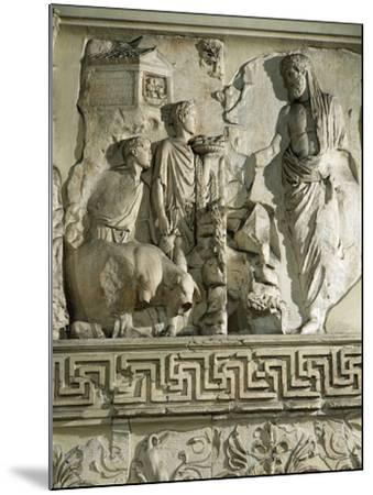 Relief of Aeneas Sacrificing to Penates, on Ara Pacis Augustae, Altar Built Between 13 and 9 B.C.--Mounted Giclee Print