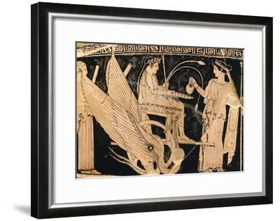 Krater Showing Scene of Eleusis Cult with Triptolemus in Winged Chariot and Demeter--Framed Giclee Print