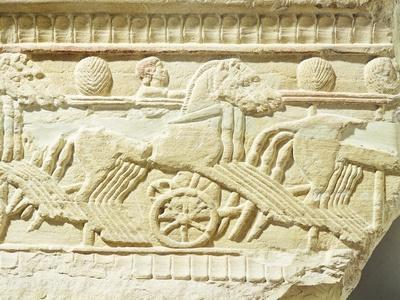 Funeral Stone Decorated in Relief, from Sicily, Italy, Detail Depicting Chariots and Horses--Framed Giclee Print