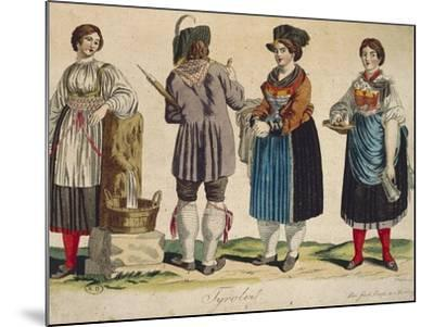 Traditional Tyrolean Costumes--Mounted Giclee Print