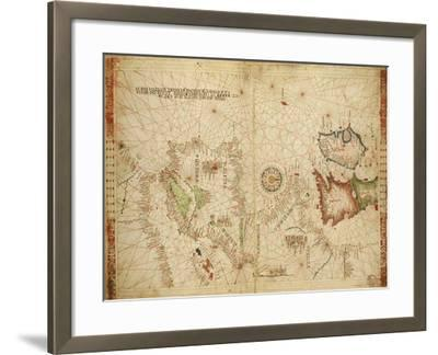 Atlantic Coasts of Europe and Africa and the Western Mediterranean Sea from a Portolan Atlas--Framed Giclee Print
