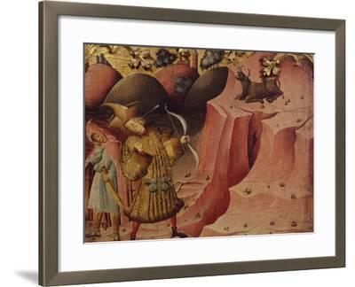 Episode of the Bull, Scene from Left Panel of Altarpiece of St Michael--Framed Giclee Print