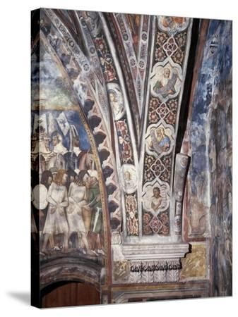 Frescoes on Lower Part of Arch in Upper Church of Sacro Speco Monastery, Subiaco, Italy--Stretched Canvas Print