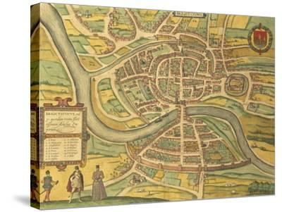 Map of Bristol from Civitates Orbis Terrarum--Stretched Canvas Print