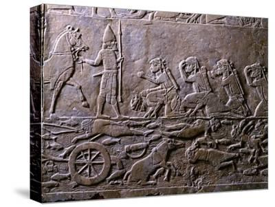 King Ummanigash the Elamite King Being Saluted on Arriving in Madaktu--Stretched Canvas Print