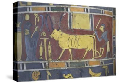 Egypt, Saqqara Necropolis, Detail of Cartonnage, Holy Bull Mnevi Led Towards God Ra-Harakti--Stretched Canvas Print