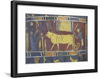 Egypt, Saqqara Necropolis, Detail of Cartonnage, Holy Bull Mnevi Led Towards God Ra-Harakti--Framed Giclee Print