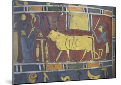 Egypt, Saqqara Necropolis, Detail of Cartonnage, Holy Bull Mnevi Led Towards God Ra-Harakti--Mounted Giclee Print