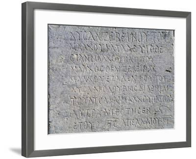 Greek Inscription, Jerash, Jordan BC--Framed Giclee Print