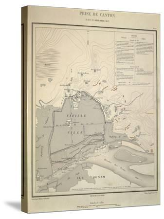 Map of Military Operations During Opium Wars, Taking of Canton, China, December 28-29, 1857--Stretched Canvas Print