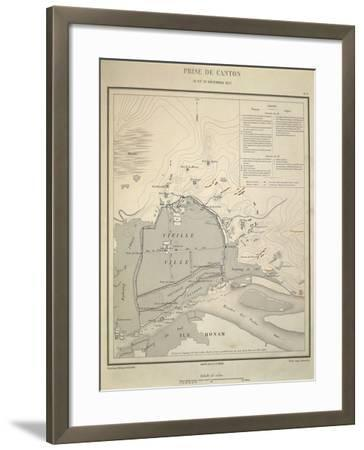 Map of Military Operations During Opium Wars, Taking of Canton, China, December 28-29, 1857--Framed Giclee Print