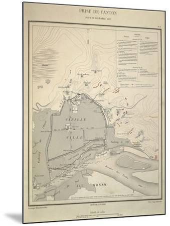 Map of Military Operations During Opium Wars, Taking of Canton, China, December 28-29, 1857--Mounted Giclee Print