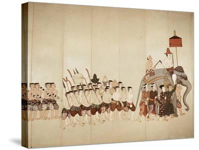Page of a Manuscript Showing a Procession Bringing an Offering to a Temple, Early 20th Cenntury--Stretched Canvas Print
