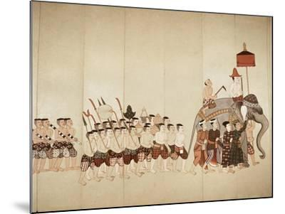Page of a Manuscript Showing a Procession Bringing an Offering to a Temple, Early 20th Cenntury--Mounted Giclee Print