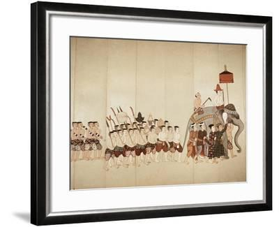 Page of a Manuscript Showing a Procession Bringing an Offering to a Temple, Early 20th Cenntury--Framed Giclee Print