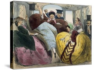Caricature of First Class Train Car--Stretched Canvas Print